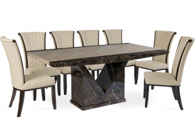 Tenore Marble Effect Dining Table with 8 - 10 Alpine Cream Chairs