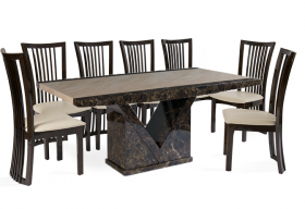 Tenore Marble Effect Dining Table with 8 - 10 Reni Chairs