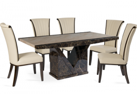 Tenore Marble Effect Dining Table with 4 - 6 Alpine Cream Chairs