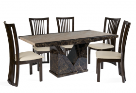 Tenore Marble Effect Dining Table with 4 - 6 Reni Chairs
