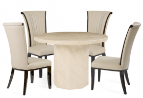 Crema Round Marble Dining Table with 4 Alpine Leather Dining Chairs