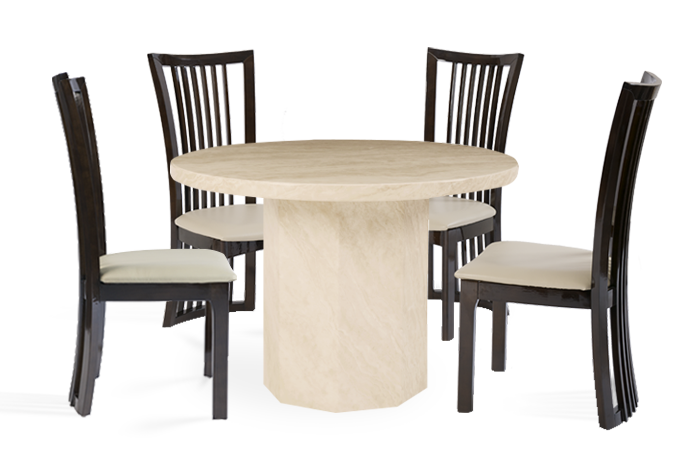 Crema Round Marble Dining Table with 4 Reni Leather Dining Chairs
