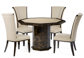 Tenore Octagonal Marble Effect Dining Table with 4 Alpine Cream Chairs