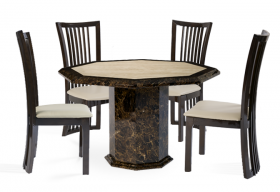 Tenore Octagonal Marble Effect Dining Table with 4 Reni Brown Chairs