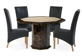 Tenore Octagonal Marble Dining Table with Black Cannes Leather Chairs