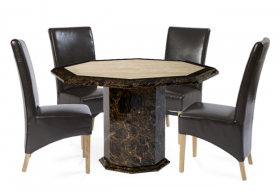 Tenore Octagonal Marble Dining Table with Brown Cannes Leather Chairs