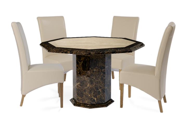 Tenore Octagonal Marble Dining Table with Cream Cannes Leather Chairs