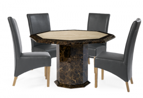 Tenore Octagonal Marble Dining Table with Grey Cannes Leather Chairs