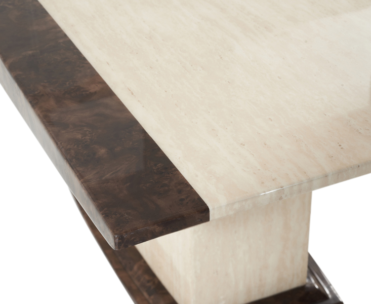 Altino Cream Pedestal Marble Dining Table Closeup