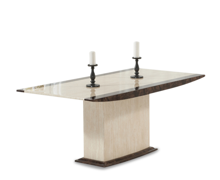 Altino Cream Pedestal Marble Dining Table