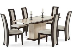 Altino 180cm Cream Pedestal Marble Dining Table with Rezzato Brown Chairs