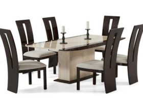Altino 180cm Cream Pedestal Marble Dining Table with Valdina Brown Chairs