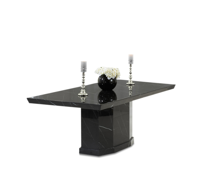 Calvera 200cm Black Pedestal Marble Dining Table Ornament