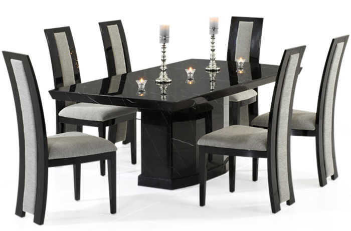Calvera 200cm Black Pedestal Marble Dining Table with Rezzato Black Chairs