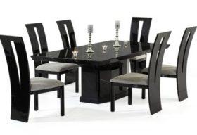 Calvera 200cm Black Pedestal Marble Dining Table with Valdina Black Chairs