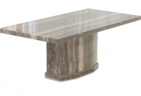 Carvelle 200cm Brown Pedestal Marble Dining Table