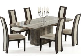 Calvera 200cm Brown Pedestal Marble Dining Table with Rezzato Brown Chairs