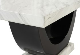 Rezzato Cream and Black Pedestal Marble Dining Table closeup