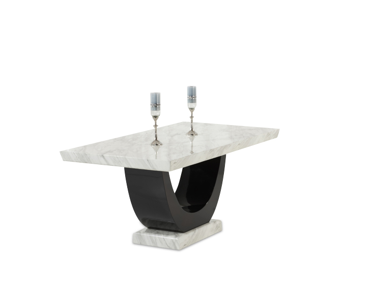 Rezzato Cream and Black Pedestal Marble Dining Table