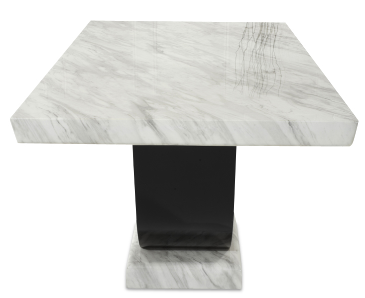 Rezzato Cream and Black Pedestal Marble Dining Table Side