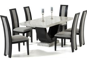 Rezzato Black Pedestal Marble Dining Table with Rezzato Black Chairs