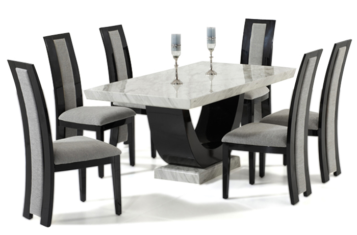 Rezzato Black Pedestal Marble Dining Table with Rezzato Black Chairs