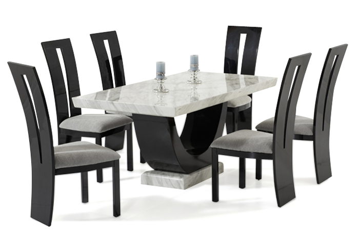 Rezzato Black Pedestal Marble Dining Table with Valdina Black Chairs