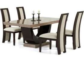 Rezzato Brown Pedestal Marble Dining Table with Rezzato Brown Chairs