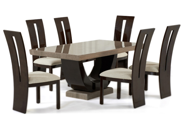 Rezzato Brown Pedestal Marble Dining Table with Valdina Brown Chairs