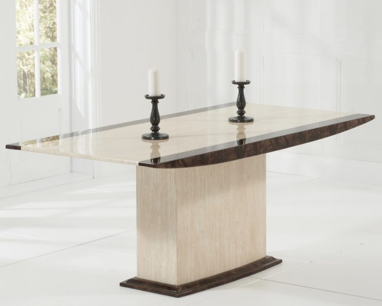 Assisi Cream Pedestal Marble Dining Table