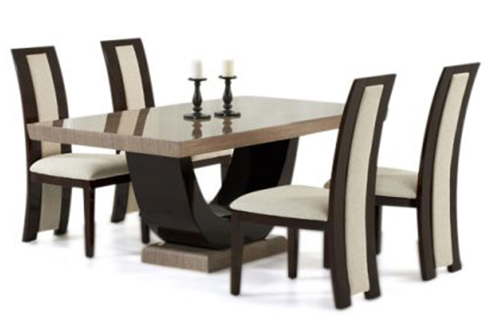 Rezatto Brown Marble Table with Rezatto Brown Chairs