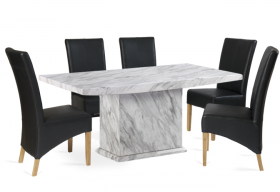 Calacatta 180cm Marble Effect Dining Table with 6 Cannes Black Chairs