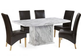 Calacatta 180cm Marble Effect Dining Table with 6 Cannes Brown Chairs
