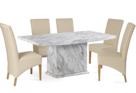 Calacatta 180cm Marble Effect Dining Table with 6 Cannes Cream Chairs