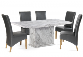 Calacatta 180cm Marble Effect Dining Table with 6 Cannes Grey Chairs