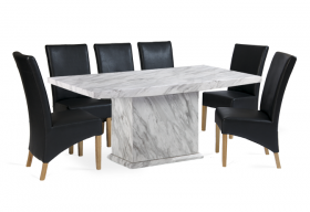Calacatta 220cm Marble Effect Dining Table with Cannes Black Chairs