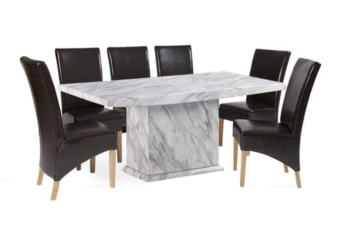 Calacatta 220cm Marble Effect Dining Table with Cannes Brown Chairs