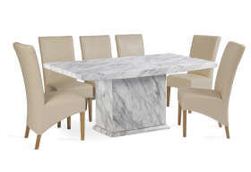 Calacatta 220cm Marble Effect Dining Table with Cannes Cream Chairs