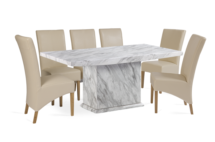Calacatta 220cm Marble EffectDining Table with Cannes Cream Chairs