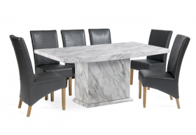Calacatta 220cm Marble Effect Dining Table with 10 Cannes Grey Chairs