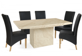 Crema Marble Dining Table with 6 Black Cannes Leather Chairs