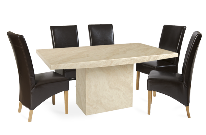 Crema Marble Dining Table with 6 Brown Cannes Leather Chairs