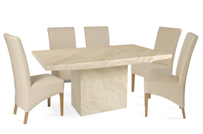 Crema Marble Dining Table with 6 Cream Cannes Leather Chairs