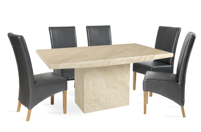 Crema Marble Dining Table with 6 Grey Cannes Leather Chairs