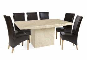Crema Marble Dining Table with 8 Brown Cannes Leather Chairs