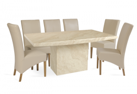 Crema Marble Dining Table with 8 Cream Cannes Leather Chairs