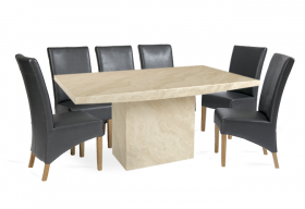 Crema Marble Dining Table with 8 Grey Cannes Leather Chairs