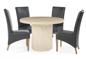 Crema Round Marble Dining Table with Grey Cannes Leather Chairs