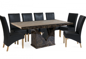 Tenore Marble Dining Table with Black Cannes Leather Chairs