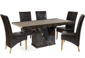 Tenore Marble Dining Table with Brown Cannes Leather Chairs